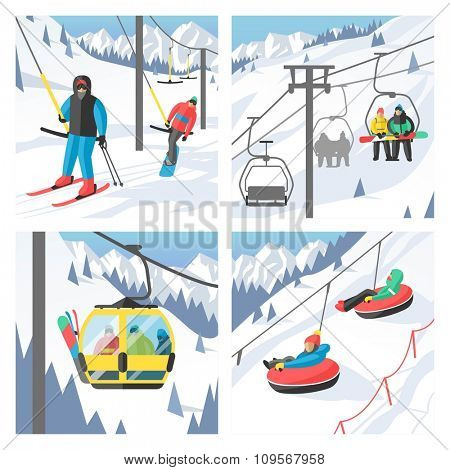 Snowboarder sitting in ski gondola and lift elevators. Winter sport resort background. Snowboard people rest. Snowboarder lifting. Special snowboard elevators. Ski elevators vector illustration