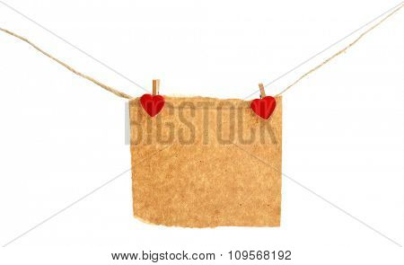 Empty sheet hang on cord isolated on white background