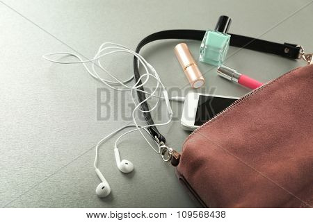 Ladies handbag on gray background