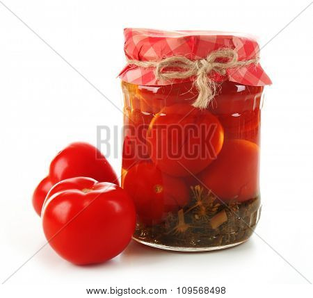 Jar of canned tomatoes isolated on white