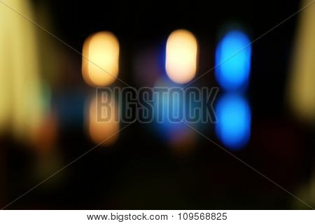 Abstract background of hotel interior with bokeh defocused lights at night