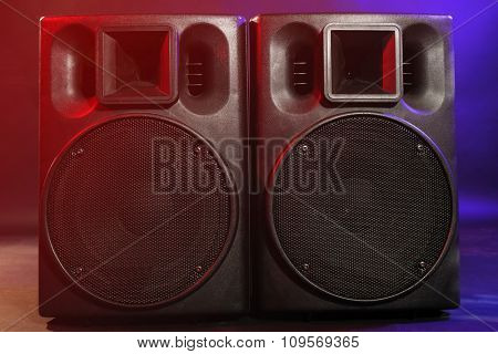 Big black loudspeakers, close up