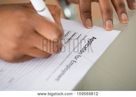Woman Filling Employment Form