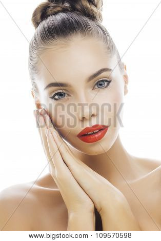 young stylish woman with fashion make up and hairstyle isolated on white posing red lipstick elegant