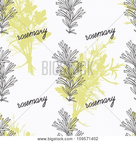 Hand drawn rosemary branch and handwritten sign. Spicy herbs seamless pattern. Doodle kitchen backgr