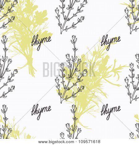 Hand drawn thyme branch and handwritten sign. Spicy herbs seamless pattern. Doodle kitchen backgroun