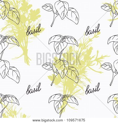 Hand drawn basil branch and handwritten sign. Spicy herbs seamless pattern. Doodle kitchen backgroun