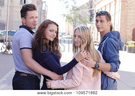 Group of friends on the street