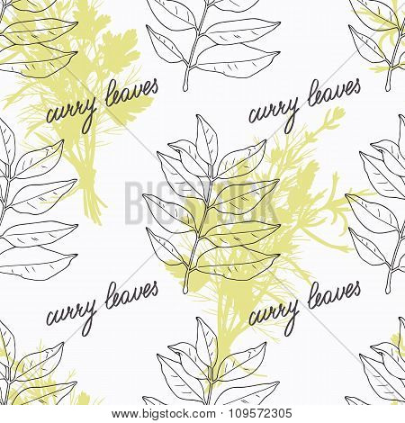 Hand drawn curry leaves branch and handwritten sign. Spicy herbs seamless pattern. Doodle kitchen ba