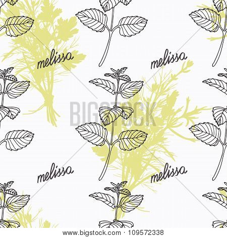 Hand drawn melissa branch and handwritten sign. Spicy herbs seamless pattern. Doodle kitchen backgro