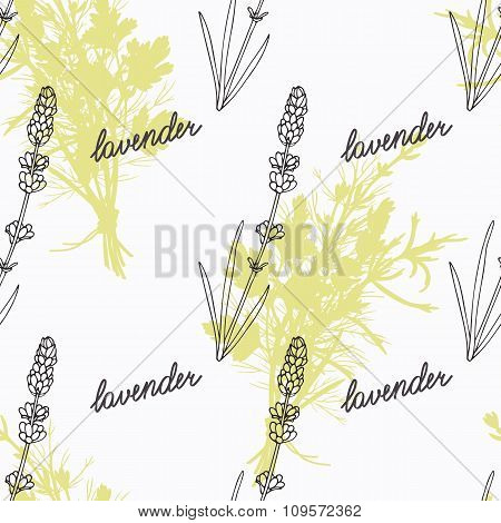 Hand drawn lavender branch and handwritten sign. Spicy herbs seamless pattern. Doodle kitchen backgr