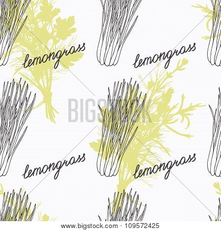 Hand drawn lemongrass branch and handwritten sign. Spicy herbs seamless pattern. Doodle kitchen back