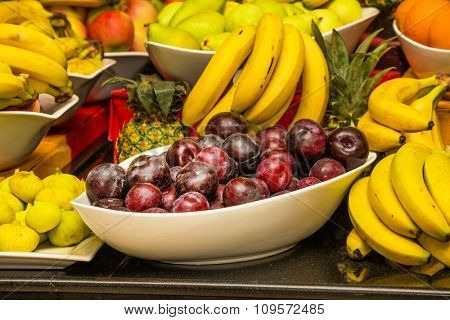 Assortment of juicy fruits background