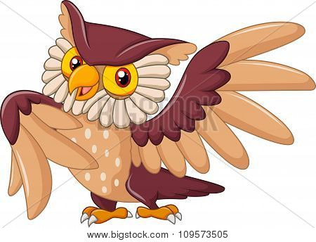 Cartoon funny owl bird posing