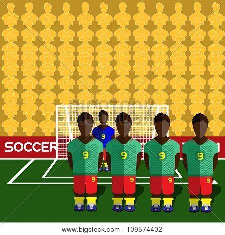 Cameroon Soccer Club On A Stadium