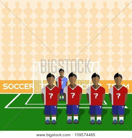 Costa Rica Soccer Club On A Stadium