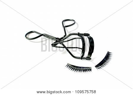 Fashion Fake False Eyelash And Eyelash Curler Isolated