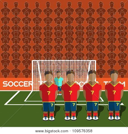 Spain Soccer Club On A Stadium