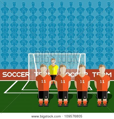 Netherlands Soccer Club On A Stadium