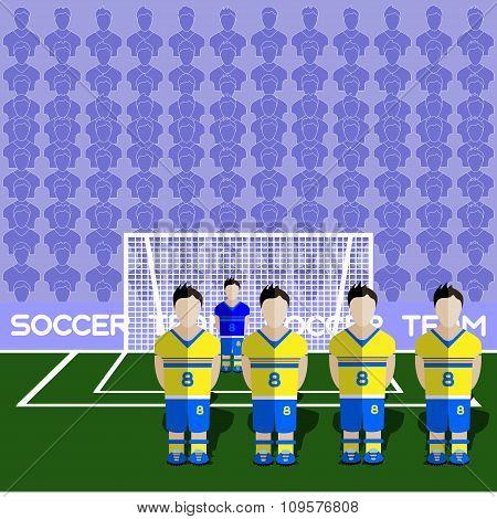 Sweden Soccer Club On A Stadium