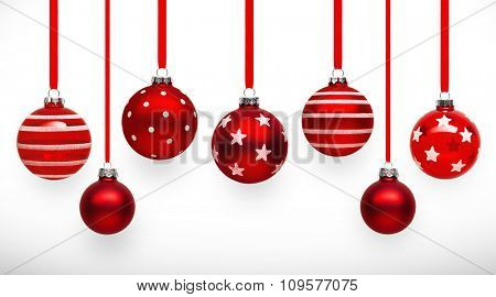 Christmas balls red color with shadow on white background