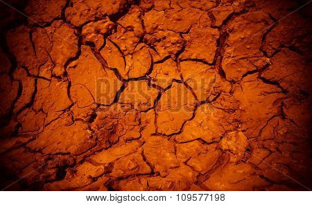 Cracked earth in dry desert