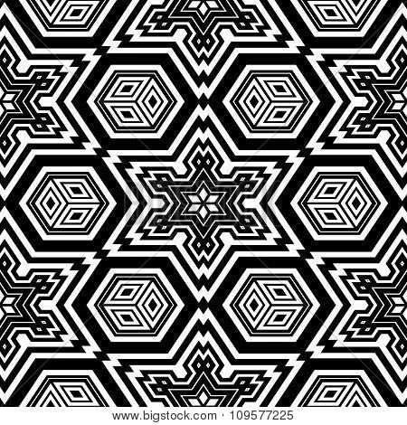 Geometric design coloring page (blank page of adult coloring book / abstract seamless pattern