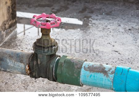 Water Valve Connects To Pvc Pipe.