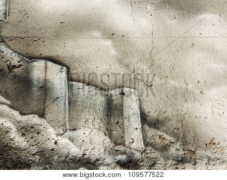 Varna - November 11: Detail Of Graffiti On The Wall Of The Old Building. Grungy Concrete Surface Wit