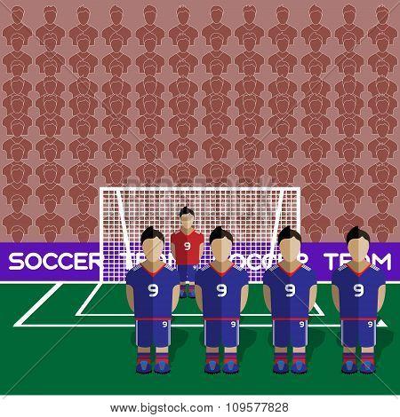 Japan Soccer Club On A Stadium