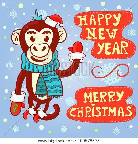 Vector Greeting Card With Christmas And New Year.