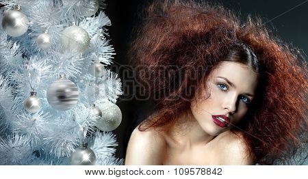 beauty portrait of young caucasian woman makeup face skin lips hair style christmas tree new year