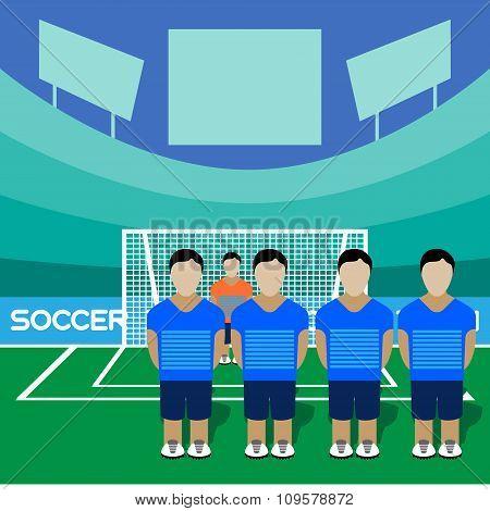 Soccer Club On A Stadium