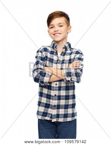 male, gender, childhood, fashion and people concept - smiling boy in checkered shirt and jeans