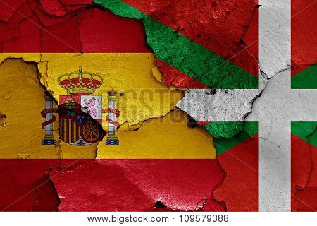 Flags Of Spain And Basque Country Painted On Cracked Wall