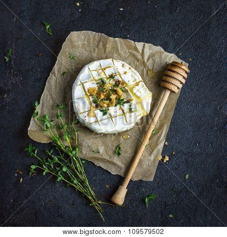 Baked Camembert Cheese With  Nuts And Honey