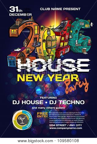 Vector New Year House Party Invitation. Vector Template.