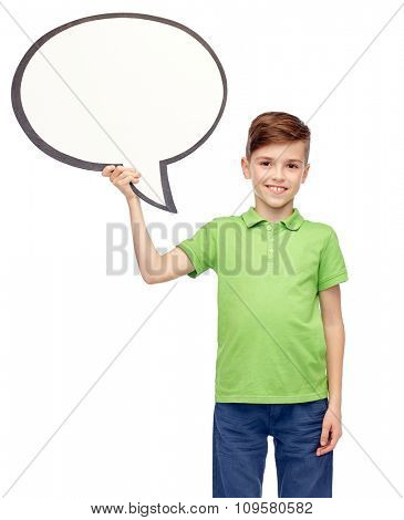 childhood, communication, advertisement and people concept - happy smiling boy in green polo t-shirt holding blank white text bubble banner