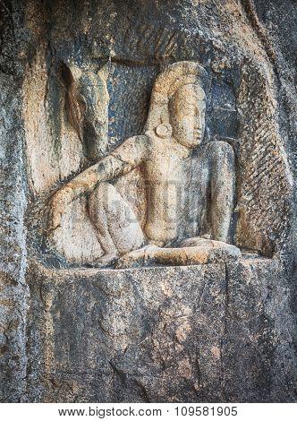 Carving in Isurumuniya Viharaya in the sacred world heritage city of Anuradhapura, Sri Lanka.