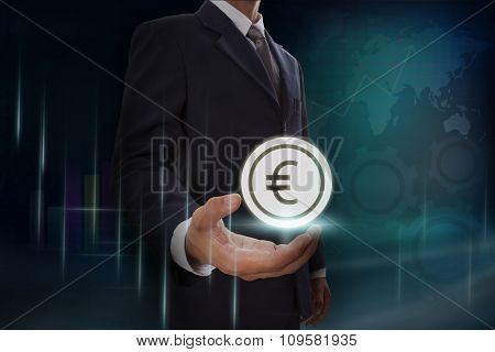 Businessman showing euro sign icon on screen. business concept