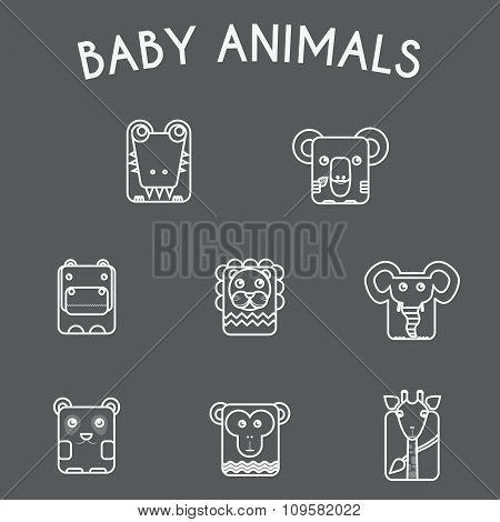 Wild Baby Animals Icons Set
