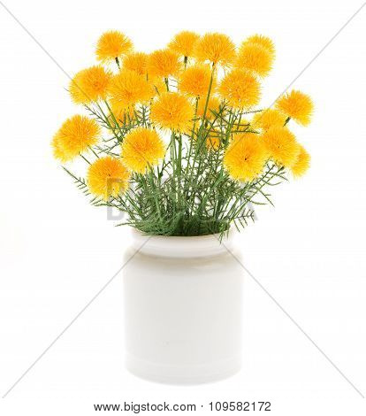 Marigold Artificial Flowers In White Ceramic Vase