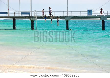 Jumping off the Jurien Bay Jetty