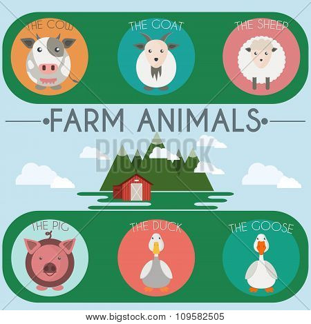 Farm Baby Animals And Birds Icons Set