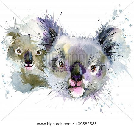 koala and cub  T-shirt graphics, koala illustration with splash watercolor textured background. illu