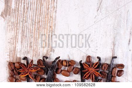 Spices And Ingredients For Cooking Or Baking On Old Wooden Surface, Copy Space For Text