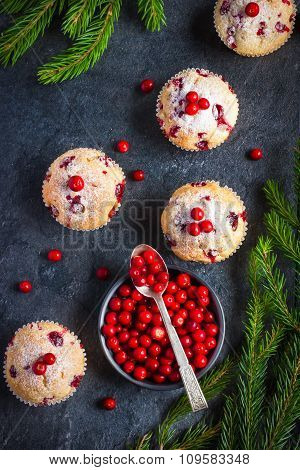 Cranberry Muffins And Fresh Berries