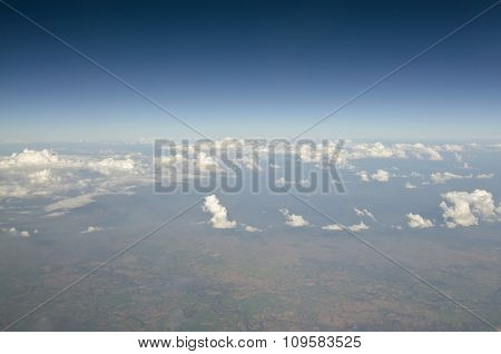 Top view of cloud, mountain and sky in Thailand
