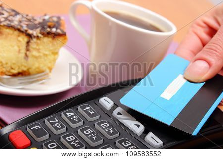 Paying With Contactless Credit Card For Cheesecake And Coffee In The Cafe, Finance Concept