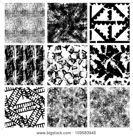Grunge seamless backgrounds, nine black-and-white detailed patterns